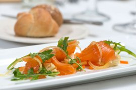 Salmon Gravlox, Baby Arugula & Pickled Vegetables.
